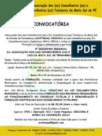 Convocatória Ofici4º ENCONTRO REGIONAL DA ASSOCIAÇÃO DOS CONSELHEIROS E EX-CONSELHEIROS TUTELARES DA MATA SUL DE PERNAMBUCO.al