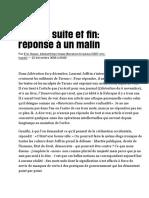 Tarnac, Suite Et Fin - Réponse à Un Malin, Par Eric Hazan (Libération)