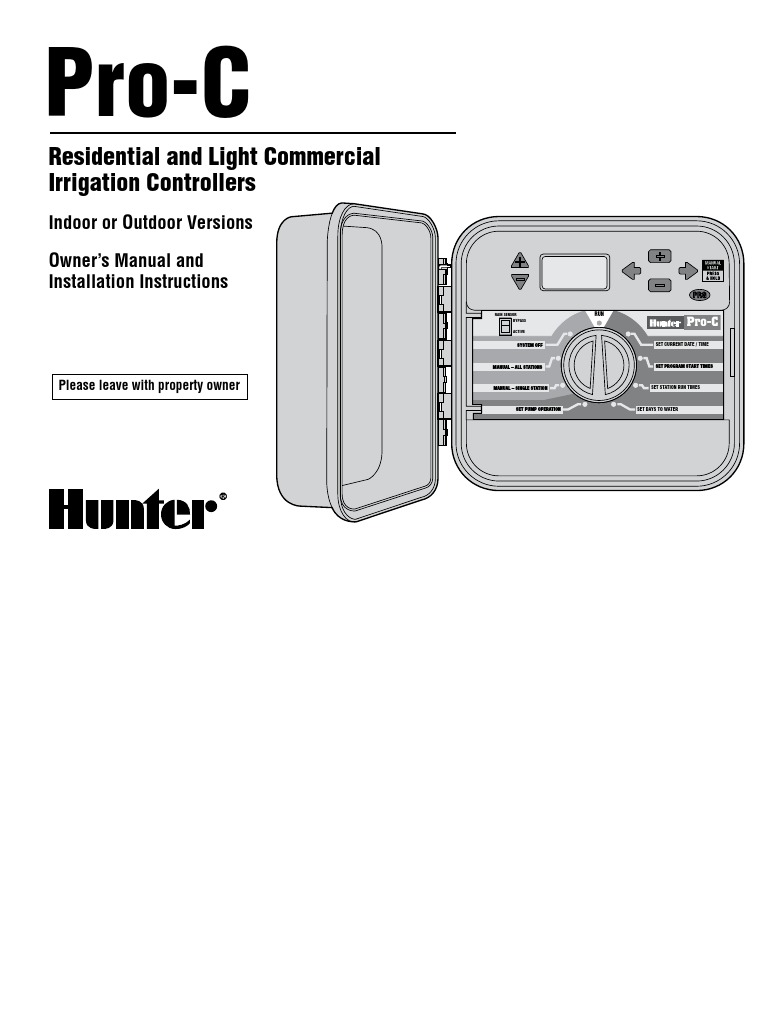 Hunter Pro C Controllers Manual Guide