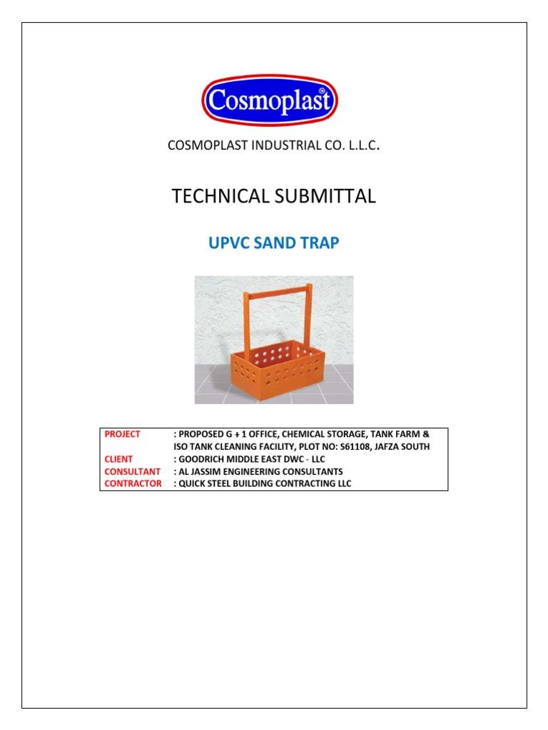Upvc Sand Trap Submittal - Cosmoplast | Dubai | United Arab