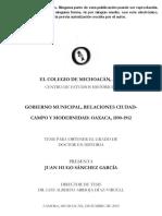 Tesis. Gobierno Municipal. Relaciones Ciudad, Campo y Modernidad. OAXACA. 1890-1912