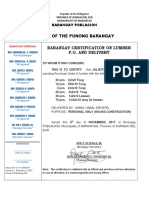 Barangay Certification on Lumber PO and Delivery