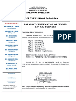 Barangay Certification on Lumber PO and Delivery   Philippines