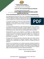 NOTA DE PRENSA N° 015 FORESTARÁN CON PLANTONES DE TARA Y YARA  ÁRIDA QUEBRADA HOSPICIA Y ZONA ADYACENTE DE LA PLANTA DE TRATAMIENTO DE AGUAS SERVIDAS