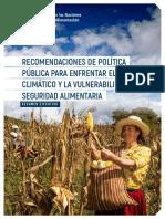Recomendaciones de Política Pública Para Enfrentar El Cambio Climático