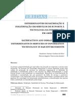 Determinantes de Satisfação e Insatisfação Determinantes Em Serviços de Tic