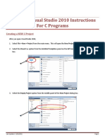 Microsoft Visual Studio 2010 Instructions for C