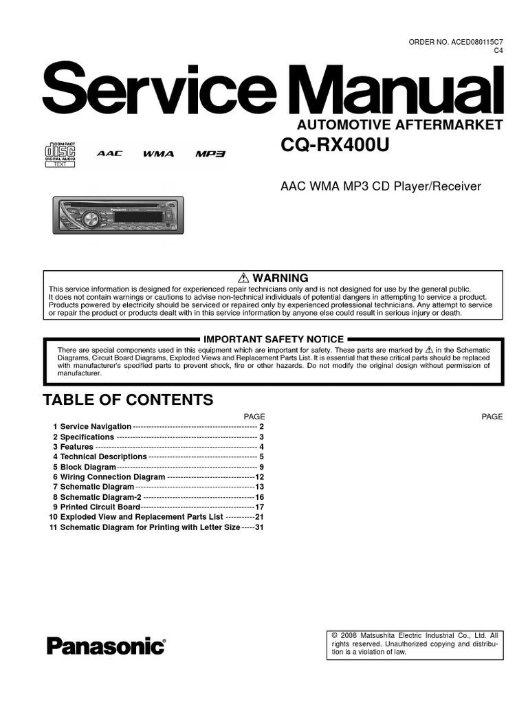 panasonic cq rx400u rh es scribd com Panasonic Car Stereo Socket Schematic Wiring Harness Diagram