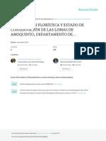 Composición Florística Y Estado de Conservación de Las Lomas de Amoquinto, Departamento de Moquegua