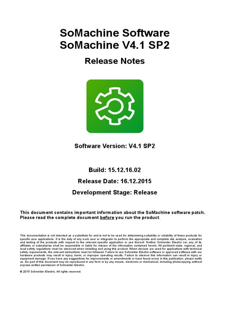 SoMachineV4 1SP2_4 1 0 1_15 12 16-ReleaseNotes EN | 64 Bit Computing