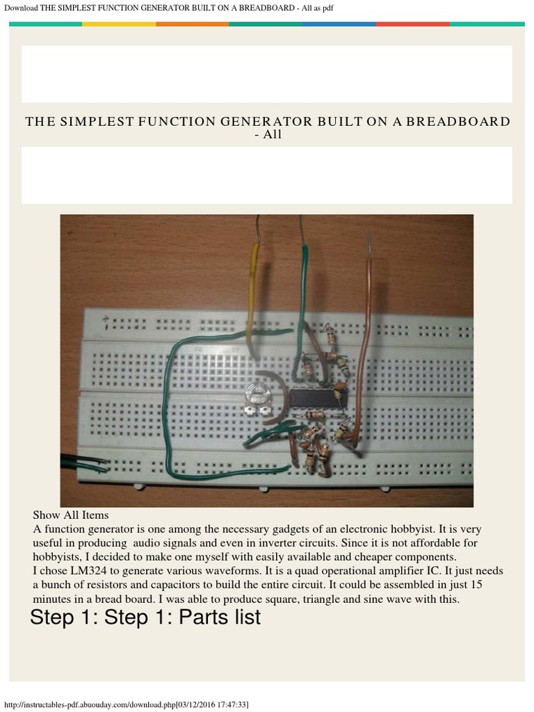 The Simplest Function Generator Built On A Breadboard All As Pdf Circuit Diagram Pictures Operational Amplifier Electronic Circuits