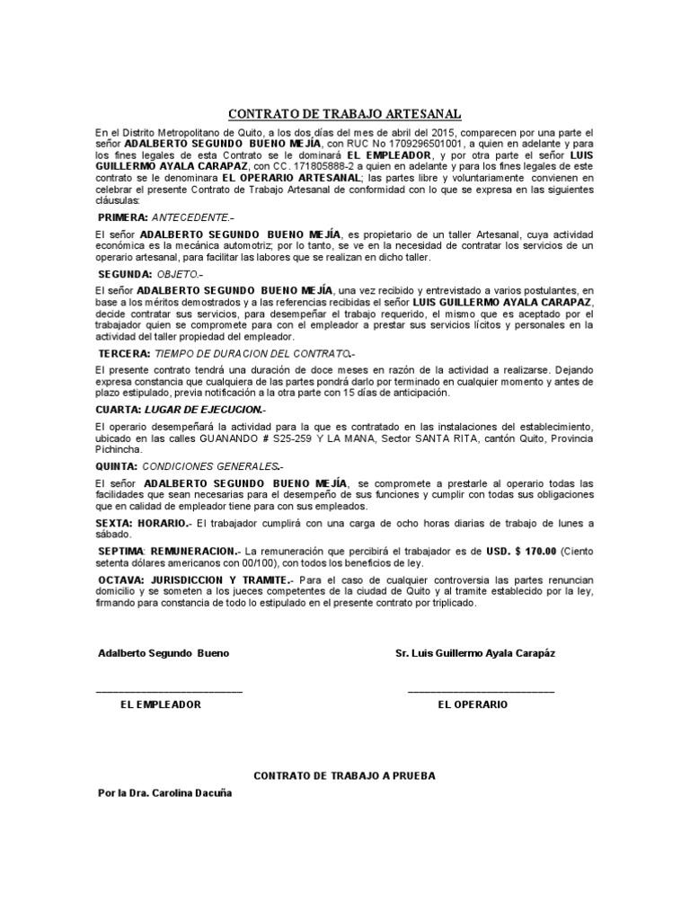 Contrato de trabajo artesanal Contrato trabajo
