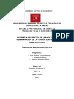 INFORME N°03 DETERMINACION DE LA TENSION SUPERFICIAL