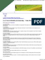 """Les 21 Lois Irréfutables Du Leadership – """"John Maxwell """" _ Dannycouturier"""
