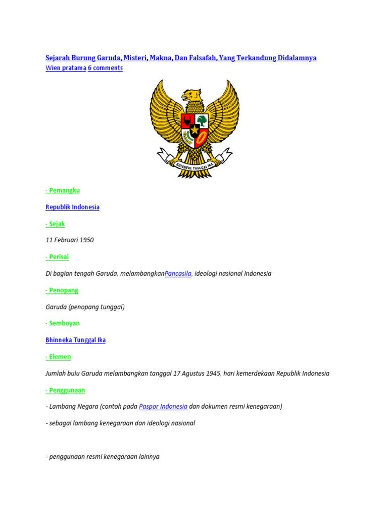 Sejarah Asal Usul Lambang Negara Indonesia Garuda Pancasila