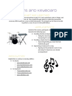 drums and keyboard handout