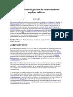 Diseño Modelo de Gestión de Mantenimiento Equipos Críticos