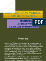 Oral and Non-Verbal Communication