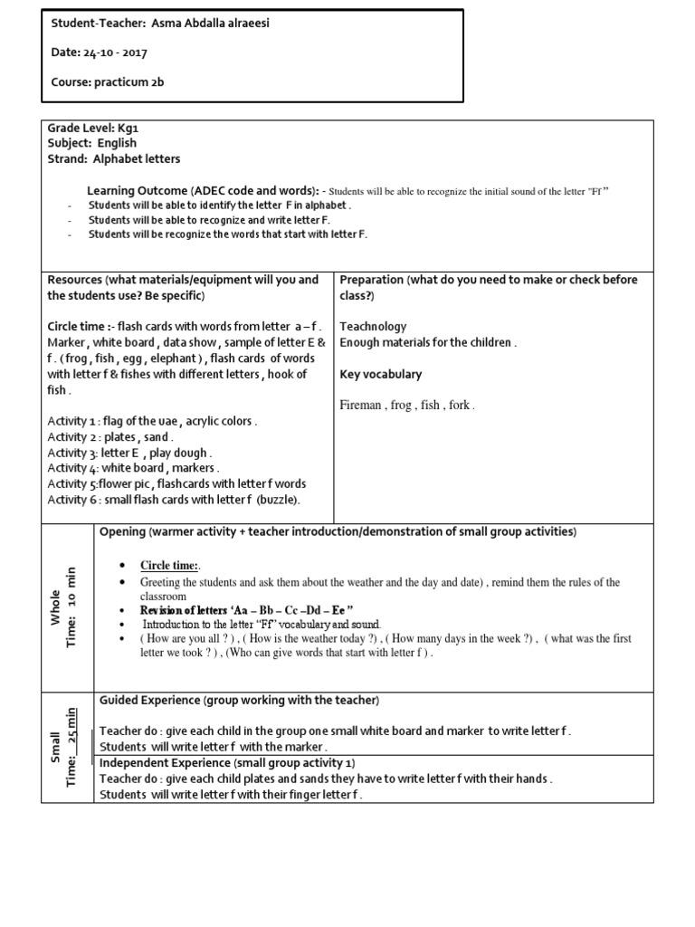 Letter fffffffffffffff lesson plan teaching pedagogy m4hsunfo