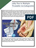 Neuropathy Due to Multiple Sclerosis is Treatable via Gabapentin