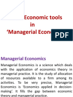 Basic Economic Tools in Managerial Economics