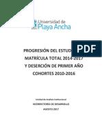 Informe Matricula Total y Deserción 2010-2016