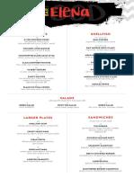 Bar Elena DC menus