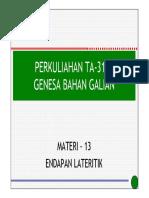 Materi 13 TA3111 Endapan Lateritik