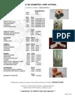 Listado de Productos Cosmética natural