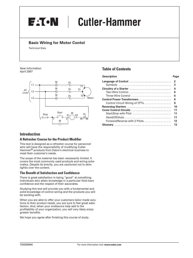 Eaton Basic Wiring For Motor Control Data Schema D3pf2aa Relay Diagram Pdf Transformer Rh Fr Scribd Com Electric