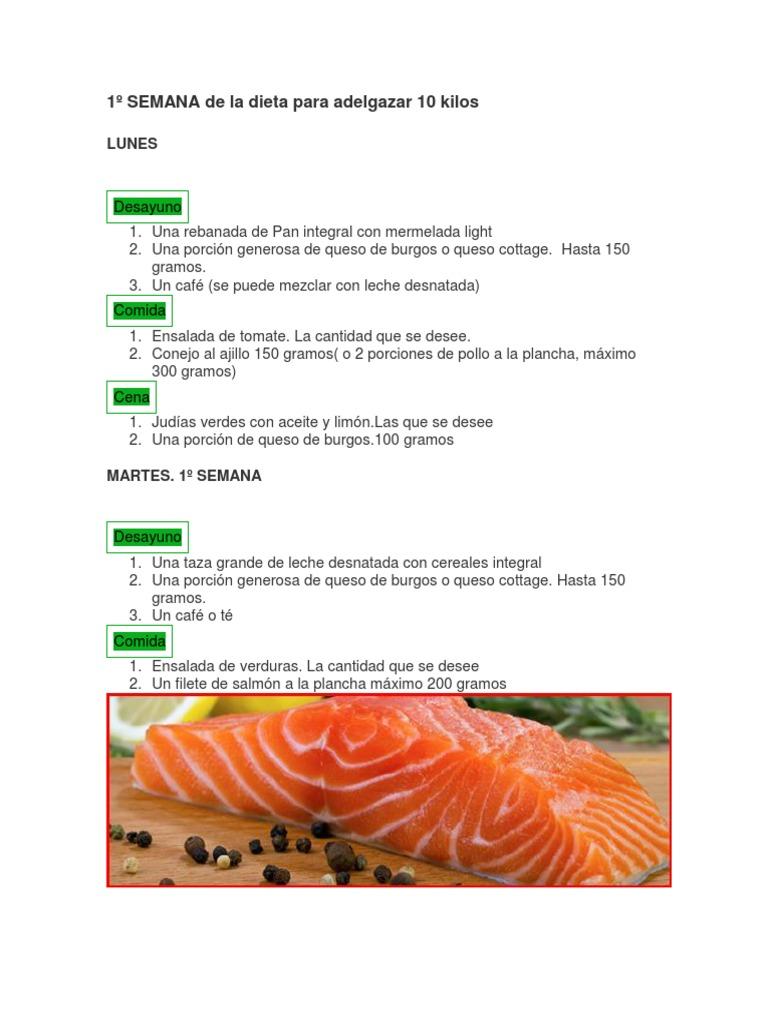 Porcion de comida para adelgazar