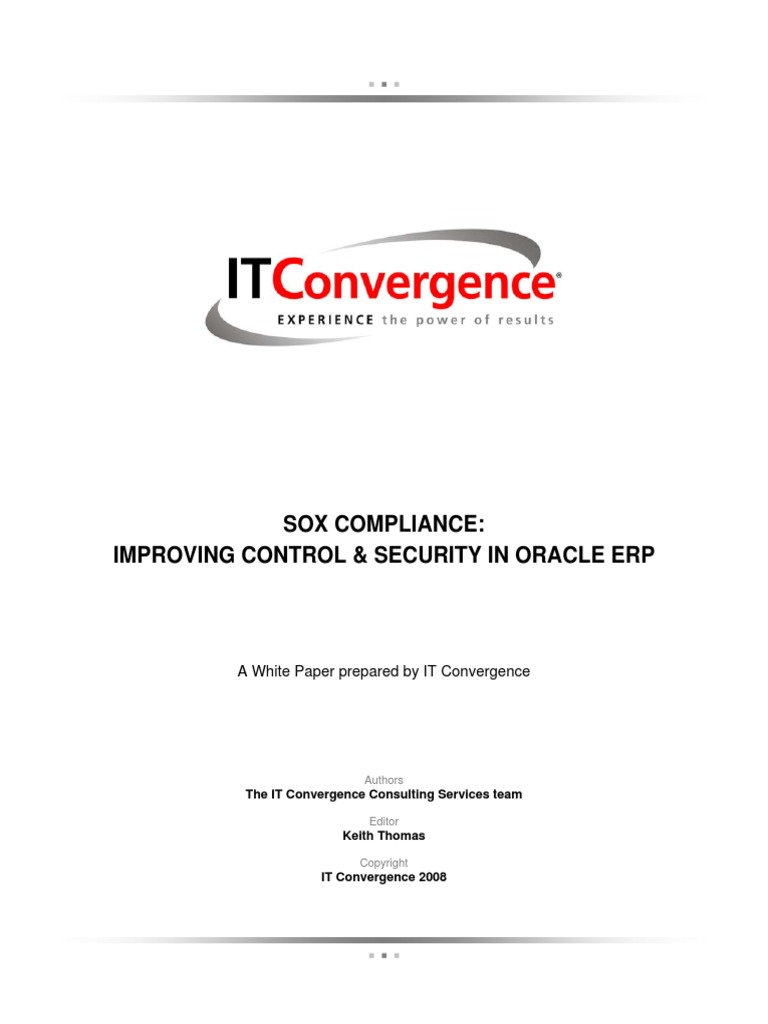 Sox Compliance Improving Control And Security In Oracle Erp