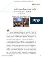 Discurso Del Papa Francisco en La Universidad Al Azhar, Por Papa Francisco