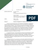 DHS Memo on Honduras and TPS