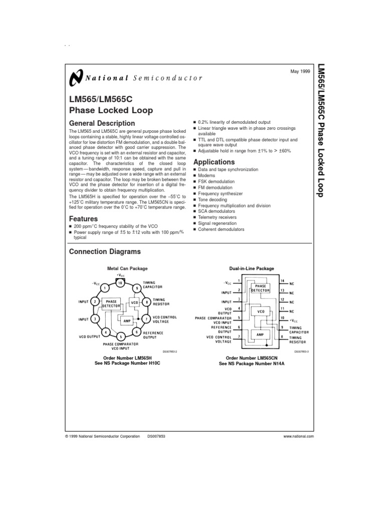 Data Lm565 Detector Radio Electronic Filter Pll Fm Demodulator Circuit Schematic Diagram