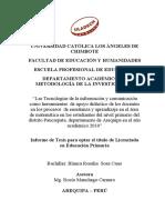 """""""Las Tecnologías de la información y comunicación como herramientas  de apoyo didáctico de los docentes  en los procesos  de enseñanza y aprendizaje en el área de matemática en los estudiantes del nivel primario del  distrito Paucarpata, departamento de Arequipa en el año académico 2010"""""""