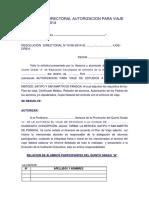 Resolución Directoral Autorizacion Para Viaje de Estudios - Modelo