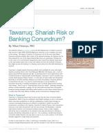 Tawarruq Shariah Risk or Banking Conundrum
