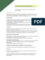 Conceitos básicos e definições sobre programação