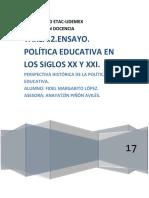 ENSAYO.POLÍTICA EDUCATIVA EN LOS SIGLOS XX Y XXI