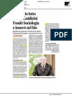 Ateneo in lutto, morto Guidicini. Fondò Sociologia e innovò nel bio - Il Corriere Adriatico del 7 novembre 2017
