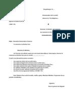 Modèle de Lettre de Demande de l'Autorisation d'Exercer Le Commerce Pour Société