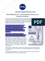 Comunicat de Presa - NOU NIVEA CELLULAR - Fiole Tratament Intensiv Cu Acid Hialuronic Concentrat