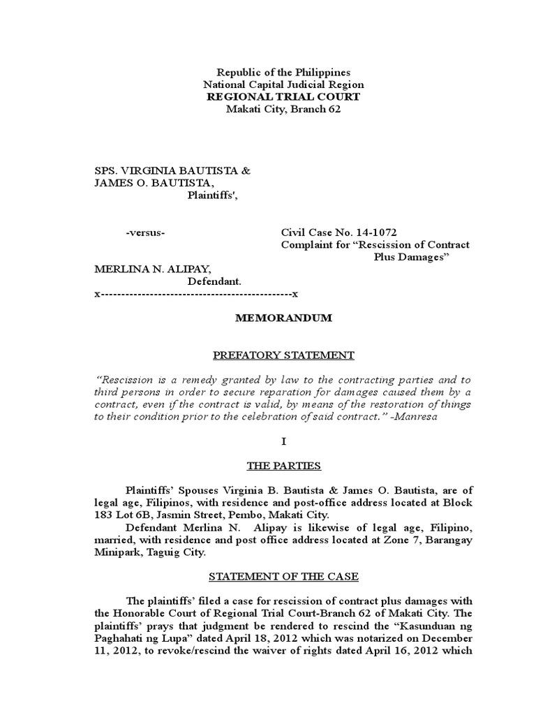Sps BAutista vs Alipay -Memorandum   Rescission   Notary Public
