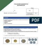 Evaluación Diagnóstica Matemáticas 2 -Solo Ejes 6 Ejercicios Por Eje