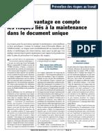 Document Unique Les Risques Lies a La Maintenance Avril 2011