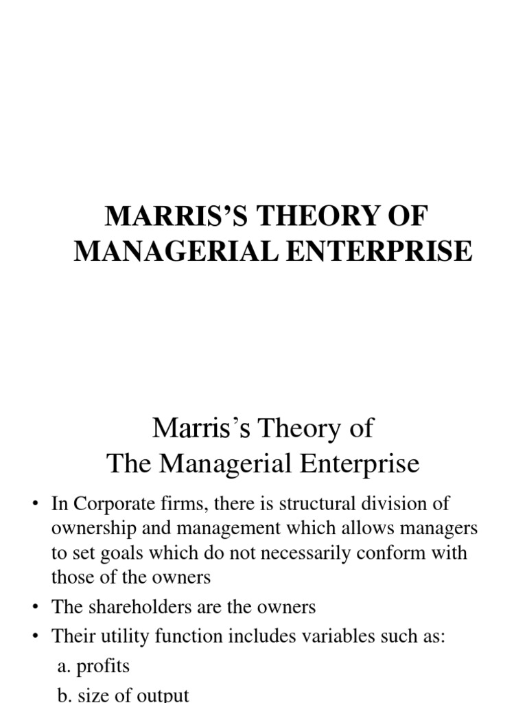 marris model of managerial enterprise