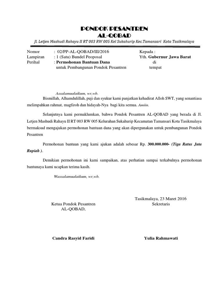 Contoh Surat Permohonan Bantuan Dana Pembangunan Musholla