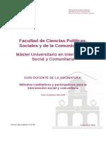 Guia Docente 115511102 - Metodos Cualitativos y Participativos Para La Intervencion Social y Comunitaria - Curso 1516