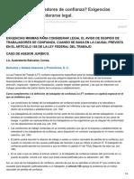 Elconta.com-Despido de Trabajadores de Confianza Exigencias Mínimas Para Considerarse Legal